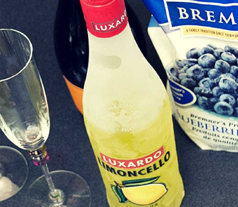 Prosecco With Limoncello and Blueberries