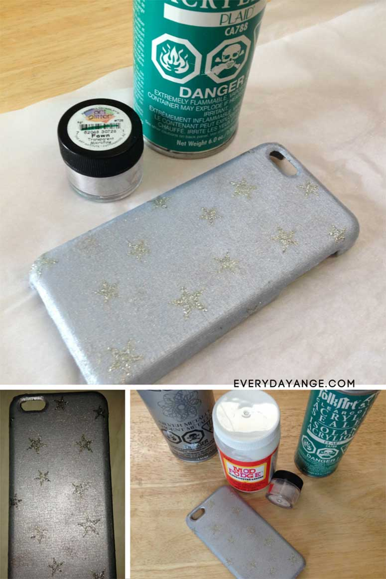 DIY phone case mod podge glitter